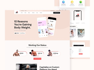 Pixilafit fitness app landing website design business service footer header hourly fixed price app showcase fitness app landing page ux design ui design ux ui landingpage design website landing app fitness pixila