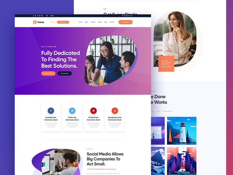 Digital Agency marketing seo business minimal ux ui header landingpage psd agency digital agency