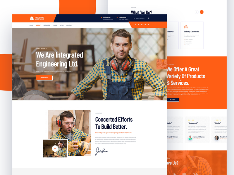 Handyman / Home Decor / Construction / Industry about faq landingpage ui industry construction home decor handyman