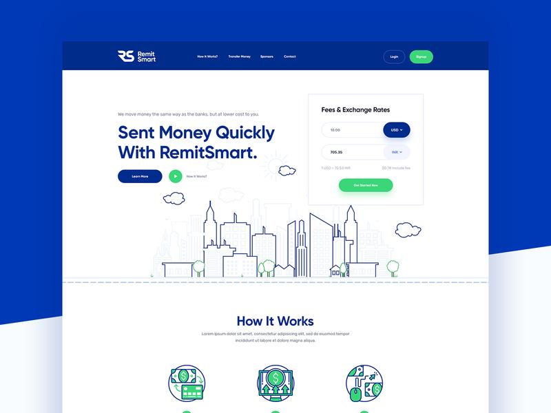 Remitsmart Money Transfer Website exchange icon icon design illustration header ui website transfer sent money money