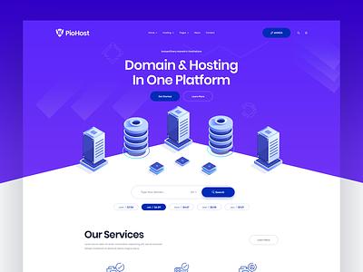 iSometric Hosting & Domain Website isometric features footer header homepage home ux ui landingpage server domain hosting
