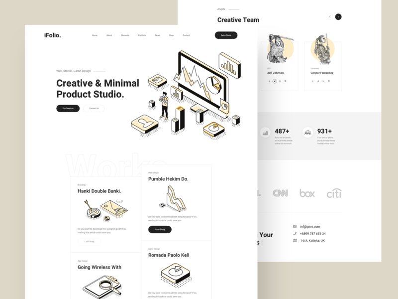 Creative Agency creative  design isometric counter minimal footer header team service landingpage agency creative one page creative agency
