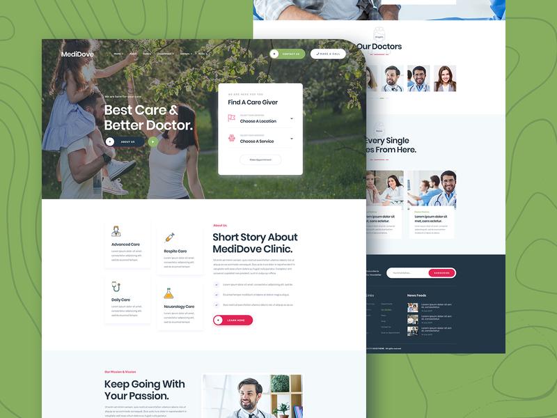 Medidove Medical/Hospital Website testimonials footer team form header landingpage ux ui website clinic hospital medical