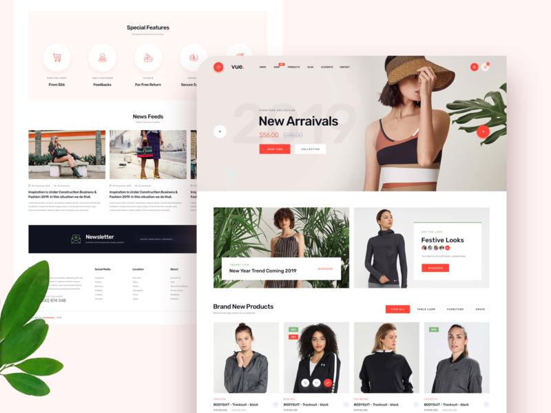Vue Online Shop Minimal Website ux ui clean minimal footer header card ecommerce design ecommerce landingpage app shopping shop online