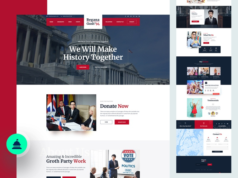 Political Party Website Design ux ui contact charity donate testimonials footer menu header crime party political politica