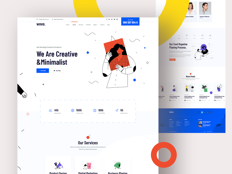 Wovo Digital Agency business homepage creative creative agency website onepage features service footer header illustration minimal clean ux ui agency digital digital agency