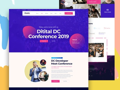 OVent - Event & Conference PSD Template colorful creative conference website event website event app website onepage ux ui landingpage conference event