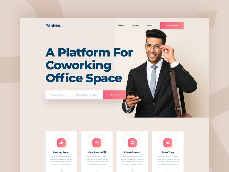 Yankee Co-Working Office Space Platform Design minimal clean homepage directory service header platform co-work ux landingpage ui space office office space co-working