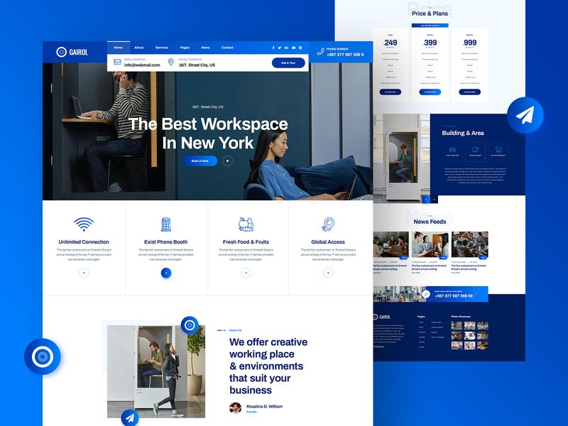 Gairol Coworking & Creative Space Website Design colorful clean app website design design website space homepage landing page ux ui landingpage creative coworking
