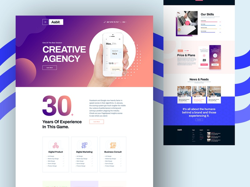 Aabit Digital Agency Design landing page homepage landingpage ux ui design trend 2020 design digital agency digital aabit
