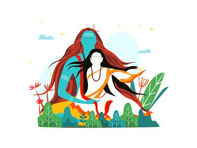 Shiva and Sati character vector flat sati parvati shiva illustration