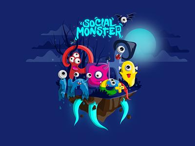 Social Monster Illustration characters social media vector design clean modern logo intervi socialmonsters illustration ux ui