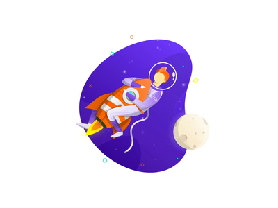 Space Rocket - Animated Illustration space characters branding ai ui modern design clean animation vector illustration intervi