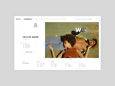 Anneq: Musician Home Page Website reliase player band musicband singer artist music app musiclabel interface new design logo design concept grid music album music typography web ui ux