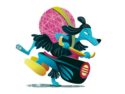 Vatu preparing to save the Universe vector illustration childrens book space dog illustration