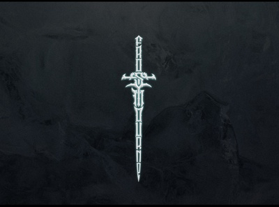 Frostmourge world of warcraft sword dark logo typography letter gothic modern logotype lettering