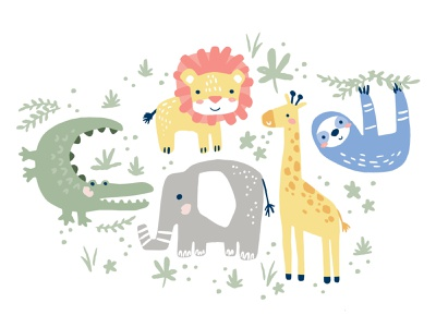 Jungle Bunch giraffe aligator elephant sloth lion vector illustration pattern jungle