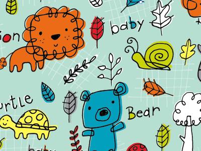Critter Doodles pattern illustration design baby animals