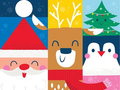 Holly Jolly Blocks holiday deer penguin santa cute christmas vector illustration