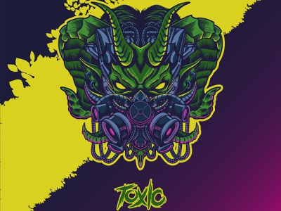 Toxic virus mask yellow green murder gas corona covid19 virus mask skull esports mascot logo charachter graphic artist illustration hello dribbble graphic design artworks illustrator design