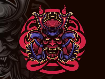Oni mask fire fire dark blue black red culture japanese samurai graphic art charachter branding graphic artist illustration hello dribbble graphic design artworks illustrator design