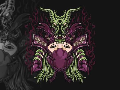 Dragon ronin mask fire green dark black mask dragon culture roni japan samurai logo branding illustration hello dribbble graphic design charachter artworks graphic artist illustrator design