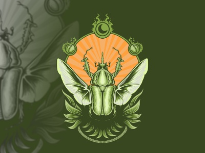 mantra fly green moon insect graphic art charachter branding graphic artist illustration hello dribbble graphic design artworks illustrator design