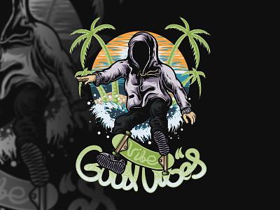 Skate vibes skateboard water tree beach sskate branding graphic artist illustration merchandise band vector logo graphic art hello dribbble graphic design artworks illustrator