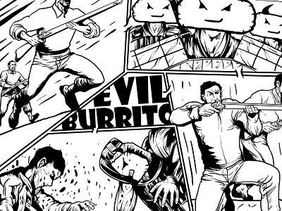 Evil Burrito war comic logo charachter hello dribbble branding illustration graphic design graphic artist artworks illustrator design