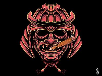 Samurai's Smoke japan japanese tshirtdesign merchandise design samurai merchandise artworks graphic art illustrator design graphic design illustration vector ui logo hello dribbble