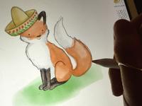 Fiesta Fox illustration ipadpro watercolor