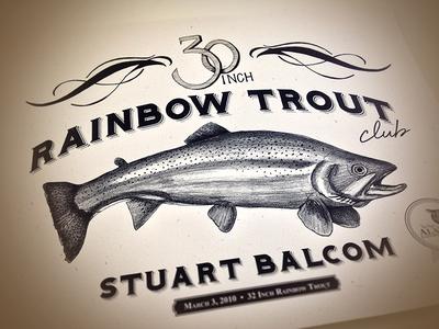 Dribble Trout illustration lettering trout certificate