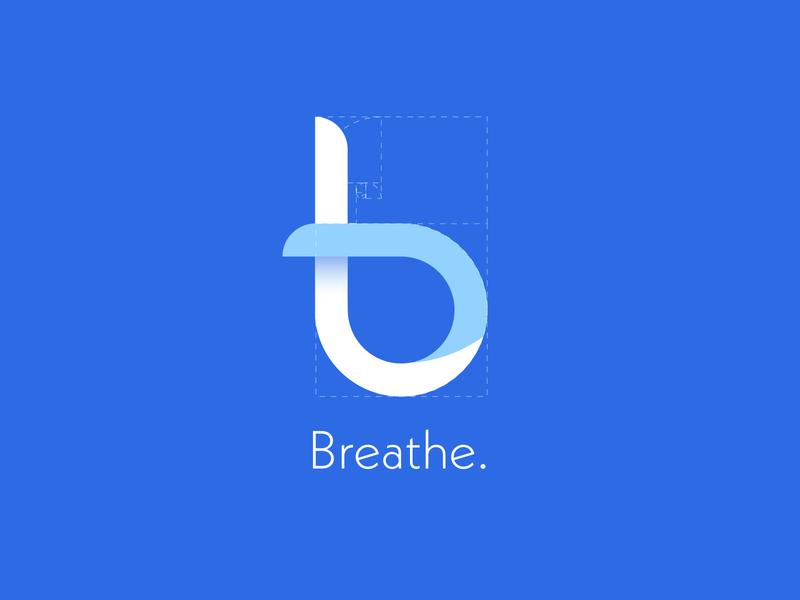 Breathe Logo ui designer digital goldenratio logomark clean health wellness breathe blue blues b vector ui typography logo design