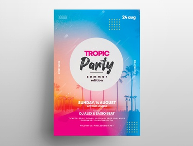 Tropic Party Free Summer PSD Flyer Template free psd flyer summer flyer flyer design design template psd flyer beach summer