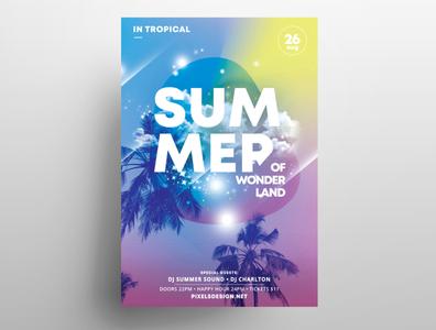 Summer Land Free PSD Flyer Template design graphic photoshop summer flyer template flyers free psd flyer free flyer psd event flyer