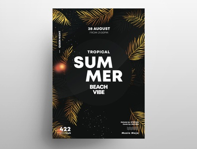 Summer Gold PSD Free Flyer Template template psd flyers leaves palms graphic design free flyer psdflyer events gold psd flyer