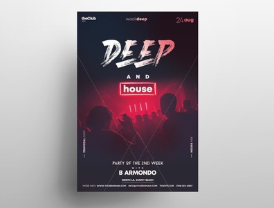 Deep House Party PSD Free Flyer Template free psd psd flyers freebie graphic design template psd flyer free flyer poster flyer