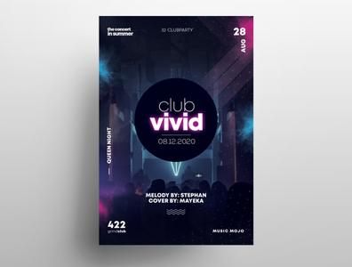 Club Vivid PSD Free Flyer Template vol2 photoshop poster design club flyers free psd flyer freebie psd print graphic design design template psd flyer psd flyer