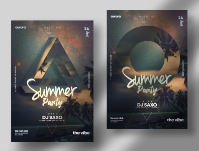 Summer Party ~ 2 PSD Flyer Templates party flyers templates design photoshop psd flyer summer flyer geometric template poster flyer