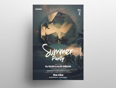 Summer Party PSD Free Flyer Template vol4 poster freebie design template summer flyer club free flyer psd flyer psd flyer
