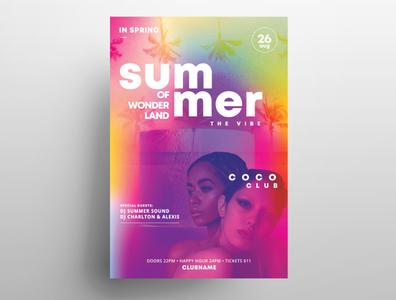 Summer Wonderland Free PSD Flyer Template print template design summer free flyers psd flyer psd design poster flyer