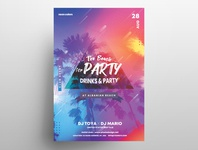 The Beach Party Free PSD Flyer Template dj flyer beach party flyer template psd freebie freebie psd flyer design poster design print design event flyer psd flyer poster flyer