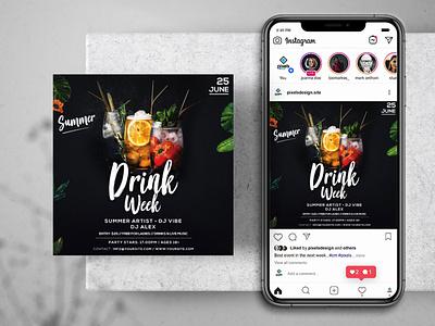 Drink Week Event Free Instagram Banner Template flyer template psd freepsd freebiepsd instagrambanner poster flyer design banner