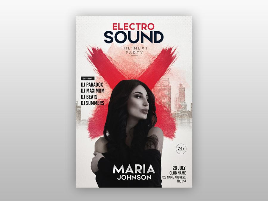 Electro Sound - Free PSD Flyer Template free club flyers photoshop flyer freebie club flyer party template free psd flyer freepsd