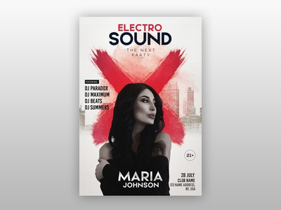 Electro Sound - Free PSD Flyer Template free club flyers photoshop flyer freebie club flyer party template free psd flyer freepsd