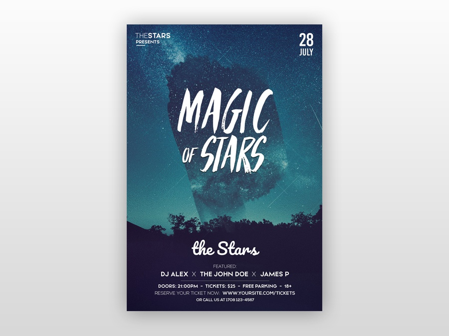 magic of stars free psd flyer template by pixelsdesign net