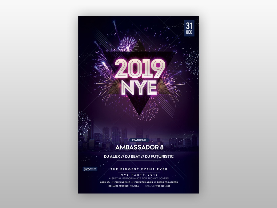 2019 new year eve free psd flyer template new year eve flyer 2019 nye eve flyer