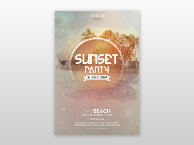 Sunset Party - Free PSD Flyer Template flyer design free summer flyer summer club free flyers free psd flyer psd poster flyer free