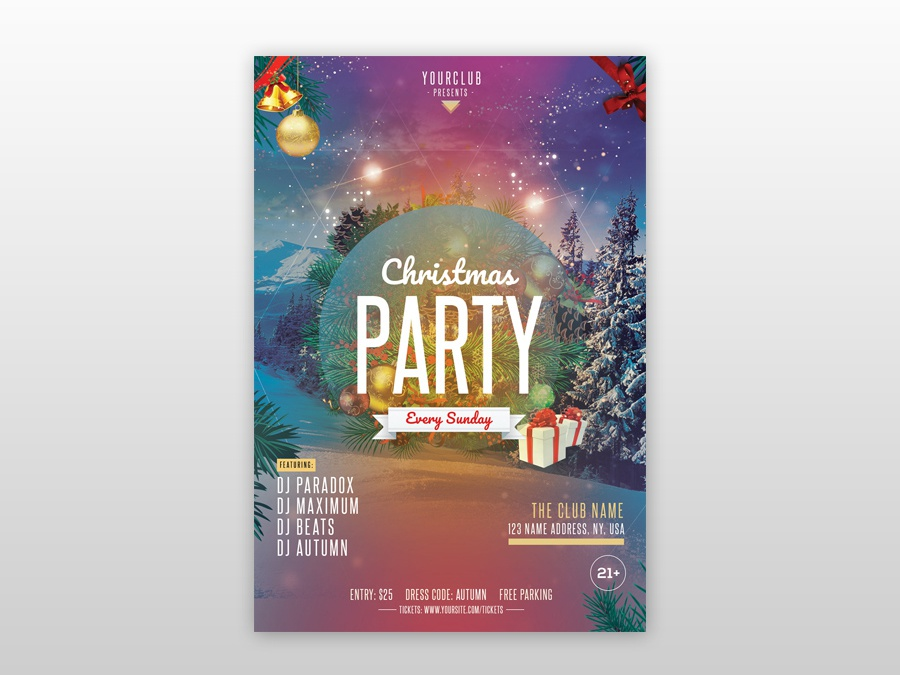 Christmas Party Free Psd Flyer Template By Pixelsdesign Net