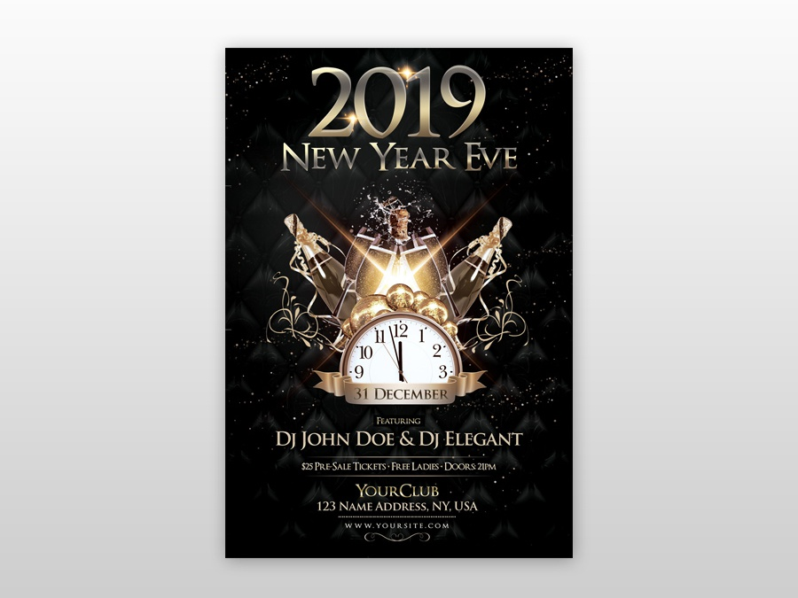 2019 new year eve free psd flyer template gold flyer black and gold flyer dj flyer